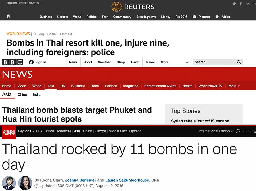 Internationale nyder Thailand eksplosioner