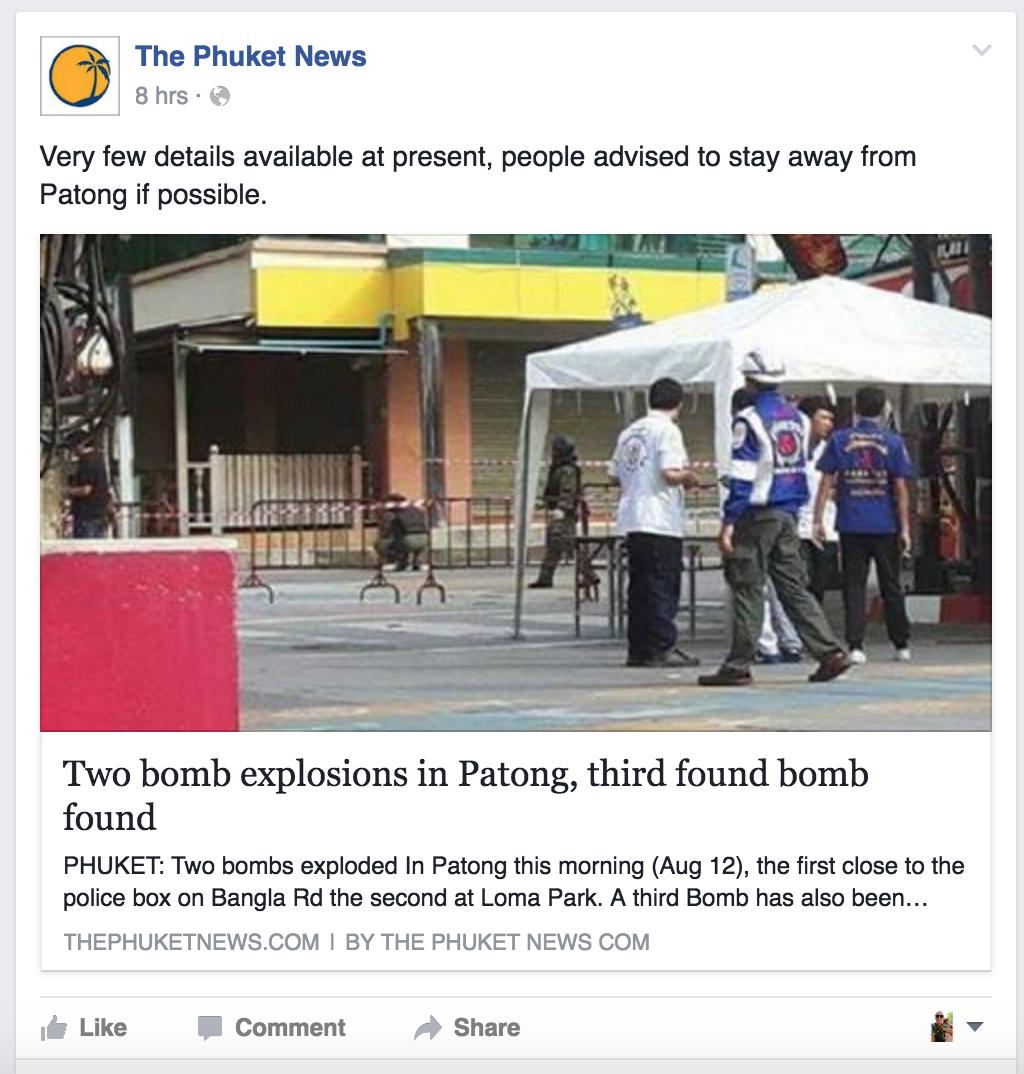 Phuket News vedr. bomber i Patong